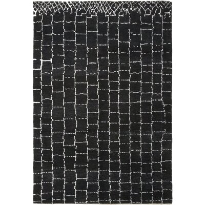 One-of-a-Kind Chelmsford Hand-Knotted Wool Black Area Rug