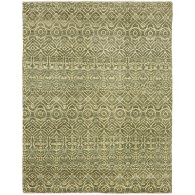One-of-a-Kind Meleedy Hand-Knotted Wool Green Area Rug