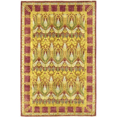 One-of-a-Kind Weid Hand-Knotted Wool Yellow Area Rug