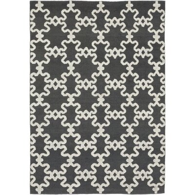 One-of-a-Kind Vasilia Hand-Knotted Wool White/Black Area Rug