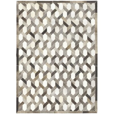 One-of-a-Kind Dixmoor Hand-Woven Cowhide Ivory/Gray Area Rug