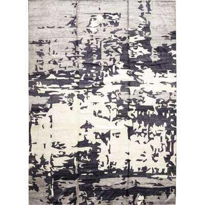 One-of-a-Kind Eley Hand-Knotted Wool Gray/Black Area Rug