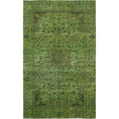 One-of-a-Kind Torzsok Hand-Knotted Wool Green Area Rug