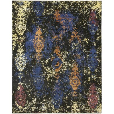 One-of-a-Kind Dunnock Hand-Knotted Wool Black/Blue Area Rug