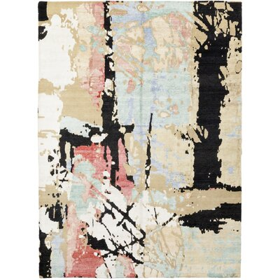 One-of-a-Kind Umana Hand-Knotted Wool White/Black Area Rug