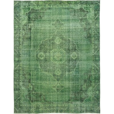 One-of-a-Kind Deaver Hand-Knotted Wool Green Area Rug