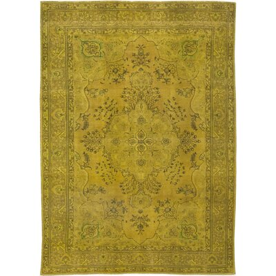 One-of-a-Kind Shedeck Hand-Knotted Wool Yellow Area Rug