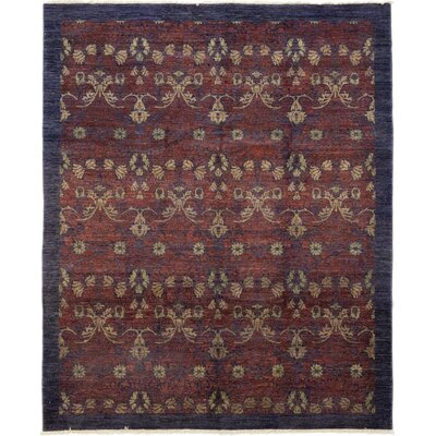 One-of-a-Kind Weid Hand-Knotted Wool Purple Area Rug