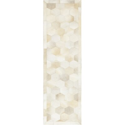 One-of-a-Kind Donnellan Hand-Woven Cowhide Ivory Area Rug