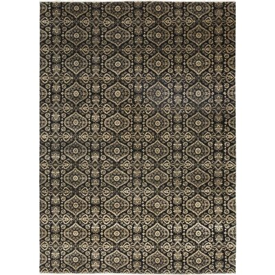 One-of-a-Kind Cote Hand-Knotted Wool Black Area Rug