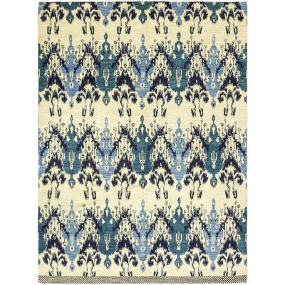 One-of-a-Kind Tyrianne Hand-Knotted Wool Blue Area Rug