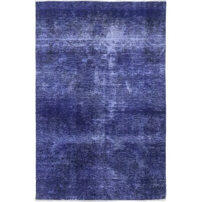 One-of-a-Kind Langell Hand-Knotted Wool Blue Area Rug