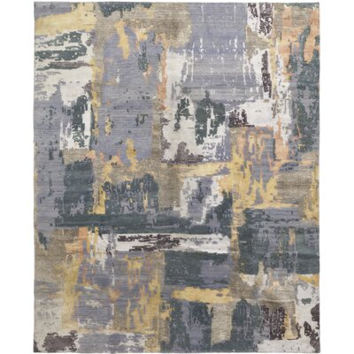 One-of-a-Kind Elio Hand-Knotted Wool Blue/Brown Area Rug