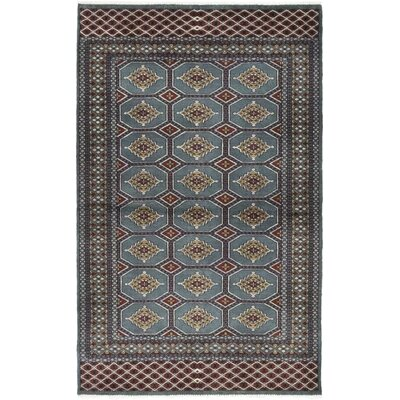 One-of-a-Kind Gavilanez Hand-Knotted Wool Gray/Dark Green Area Rug
