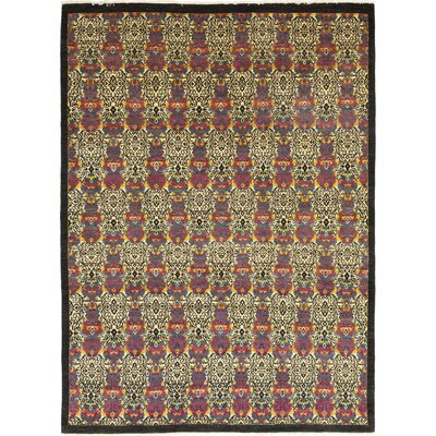 One-of-a-Kind Cote Hand-Knotted Wool Black/Red Area Rug