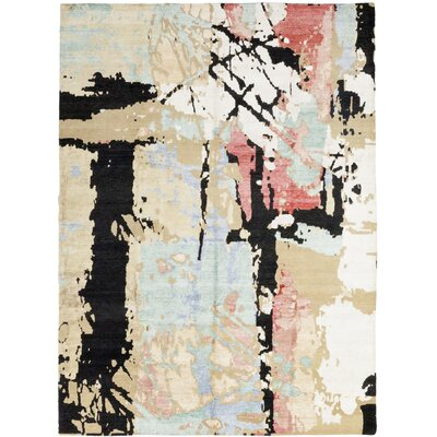 One-of-a-Kind Tyson Hand-Knotted White/Black Area Rug
