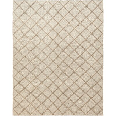 One-of-a-Kind Elson Hand-Knotted Wool Beige Area Rug