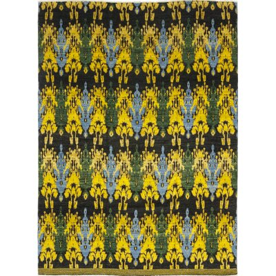 One-of-a-Kind Tyrianne Hand-Knotted Wool Black/Yellow Area Rug