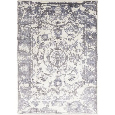 One-of-a-Kind Charroux Hand-Knotted Silk Blue Area Rug