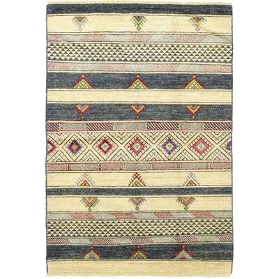 One-of-a-Kind Wash Hand-Knotted Wool Beige/Blue Area Rug