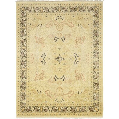 One-of-a-Kind Corrado Hand-Knotted Wool Beige Area Rug