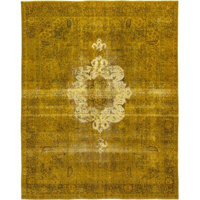 One-of-a-Kind Schwerman Hand-Knotted Wool Yellow Area Rug