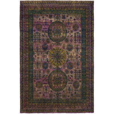 One-of-a-Kind Dimitrov Hand-Knotted Silk Purple Area Rug