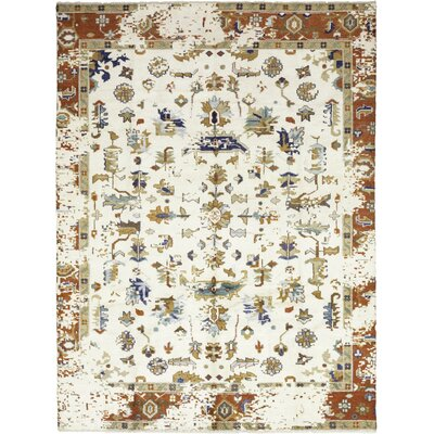 One-of-a-Kind Mael Hand-Knotted Wool White Area Rug