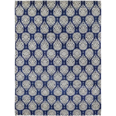 One-of-a-Kind Lobardy Hand-Knotted Wool Blue Area Rug