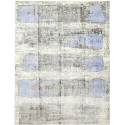 One-of-a-Kind Valley Hand-Knotted Wool Blue Area Rug