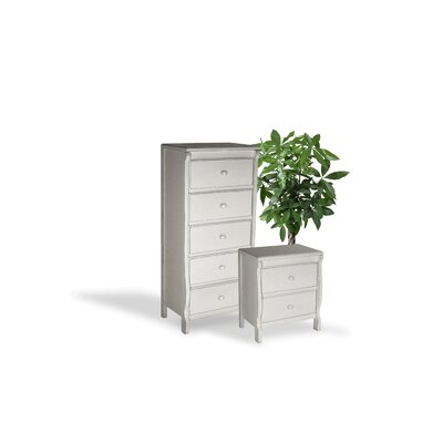 Barley Wood 2 Piece Dresser and Chest Set Color: White