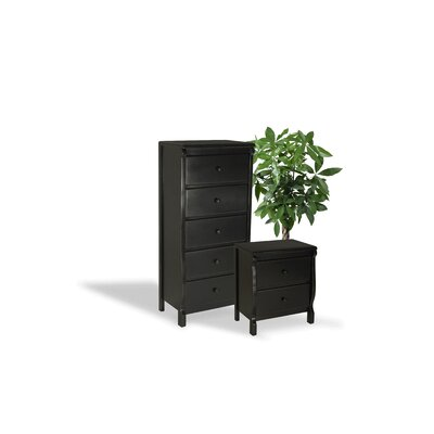 Barley Wood 2 Piece Dresser and Chest Set Color: Black
