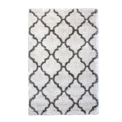 Al Maha Tile Shag Ivory Area Rug Rug Size: Rectangle 95 x 13
