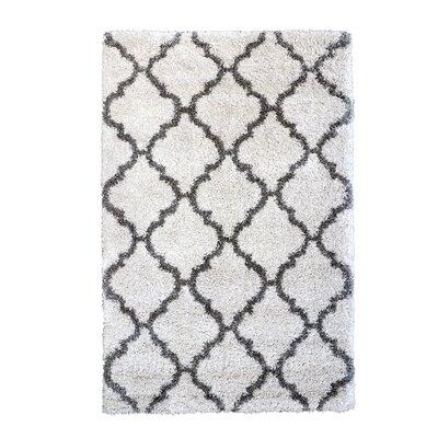 Al Maha Tile Shag Ivory Area Rug Rug Size: Rectangle 710 x 10