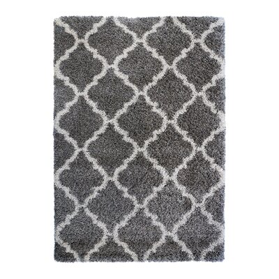 Al Maha Tile Shag Gray Area Rug Rug Size: Rectangle 53 x 75