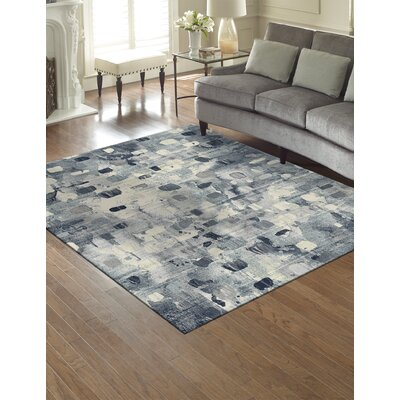 Jeri Ivory/Blue Indoor/Outdoor Area Rug Rug Size: Rectangle 710 x 10