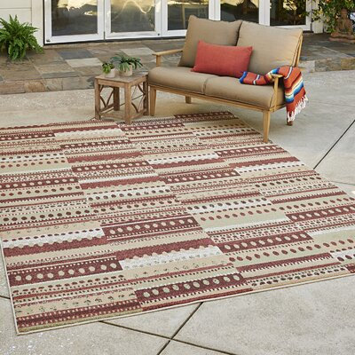 Burkett Rust/Brown Indoor/Outdoor Area Rug Rug Size: Rectangle 53 x 7
