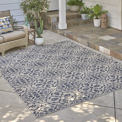 Cadencia Ivory/Blue Indoor/Outdoor Area Rug Rug Size: Rectangle 710 x 10