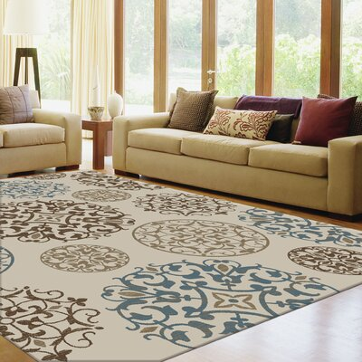 Amalfi Beige/Green Area Rug Rug Size: Rectangle 710 x 10