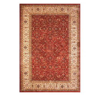 Hastings Beige/Red Indoor Area Rug Rug Size: 53 x 75