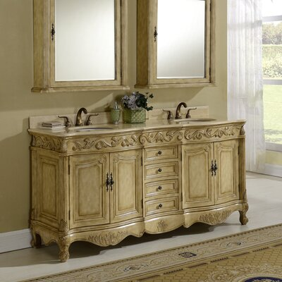 Alexis 72 Double Bathroom Vanity Set Base Finish: Honey