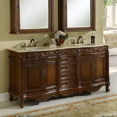 Alexis 72 Double Bathroom Vanity Set Base Finish: Teak
