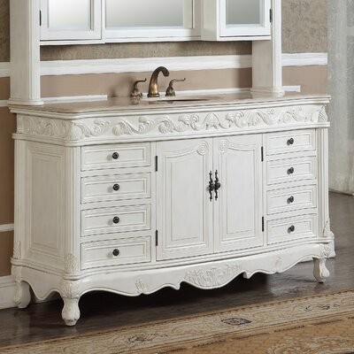 Alexis 60 Single Bathroom Vanity Set Base finish: Antique White