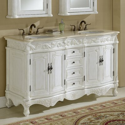 Alexis 60 Double Bathroom Vanity Set Base finish: Antique White