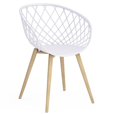 Brower Dining Chair Color: White /Natural Wood, Quantity: 4