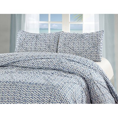 Astra Cotton 3 Piece Reversible Duvet Set Size: Queen