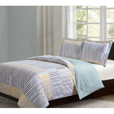 Ault Cotton 3 Piece Reversible Duvet Set Size: Queen