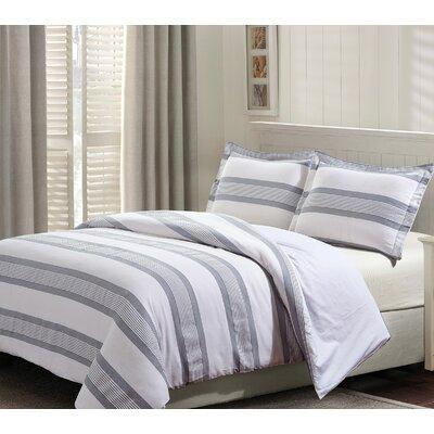 Kortright Cotton 3 Piece Reversible Duvet Set Size: Queen