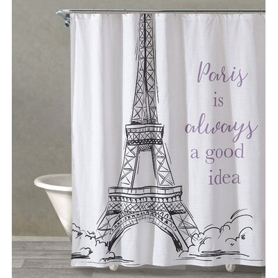 Yes To Paris Cotton Shower Curtain Color: White