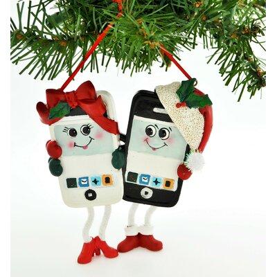 Personalized Christmas Ornament Cell Phone Couple Hanging Figurine POLARX-KA1330